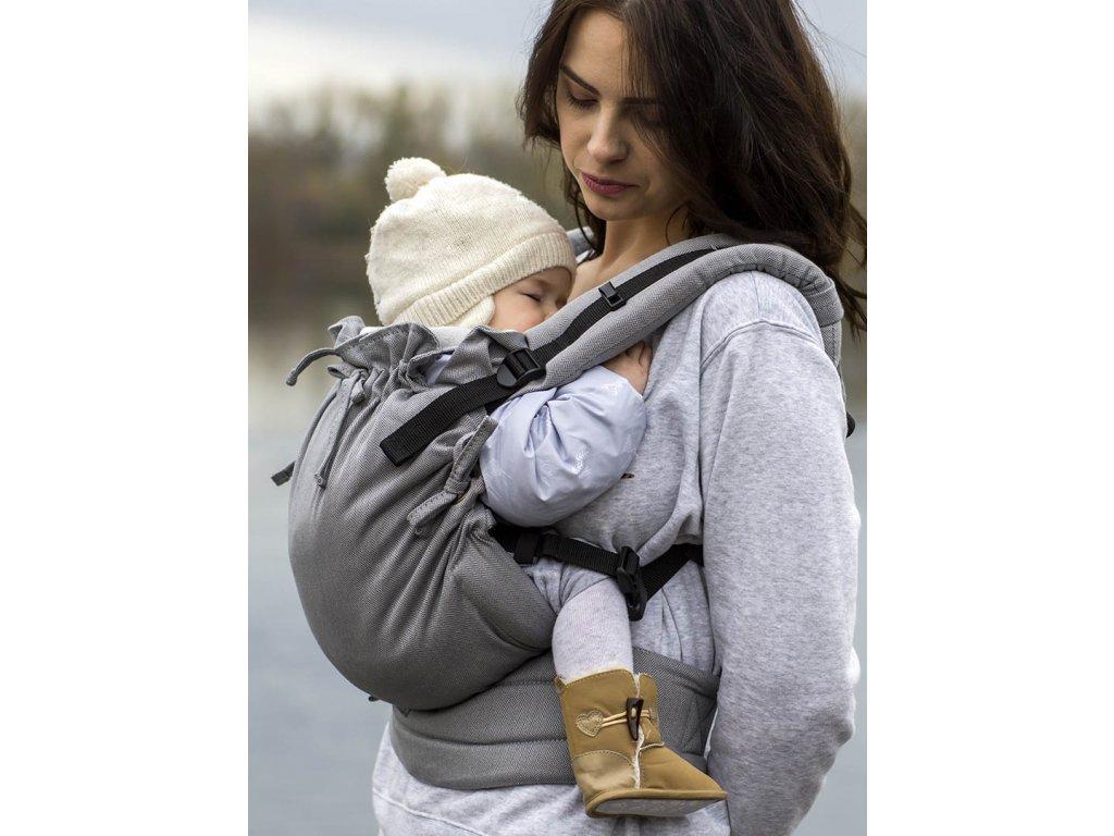 Kinder Hop Rostoucí ergonomické nosítko Multi Soft Little Herringbone Grey 100% bavlna, žakár