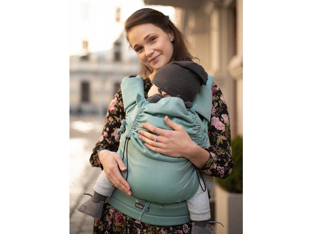 Kinder Hop Rostoucí ergonomické nosítko Multi Soft Little Herringbone Turquoise 100% bavlna, žakár