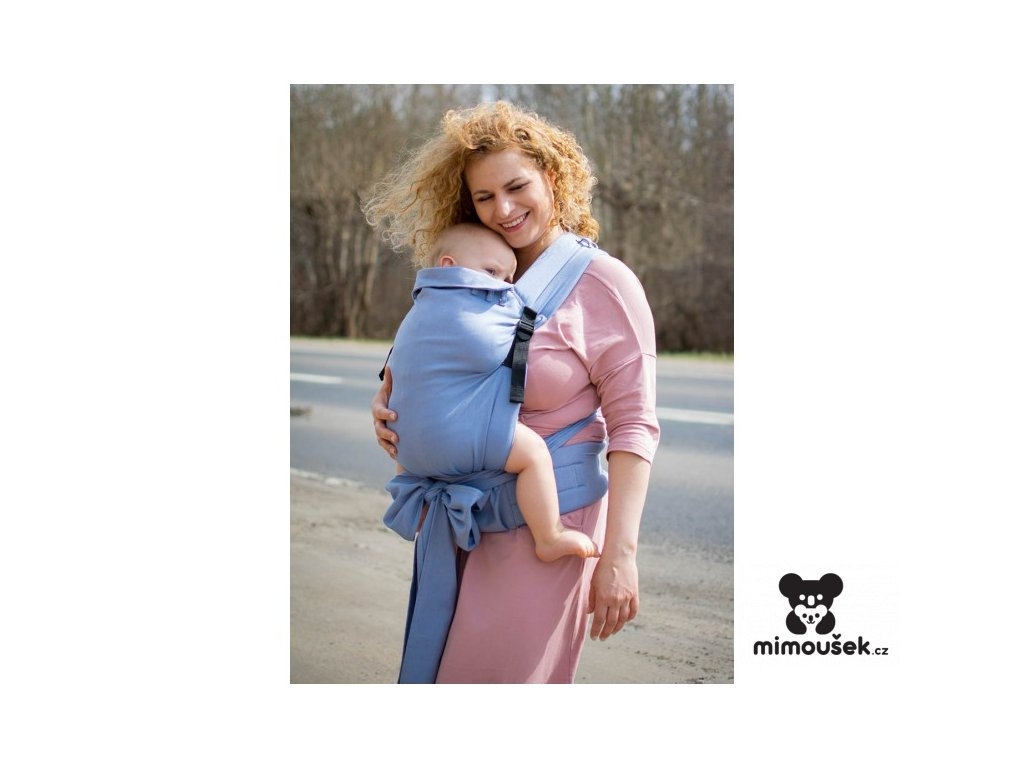 Kinder Hop Rostoucí ergonomické nosítko Half Buckle Little Herringbone Blue 100% bavlna, žakár