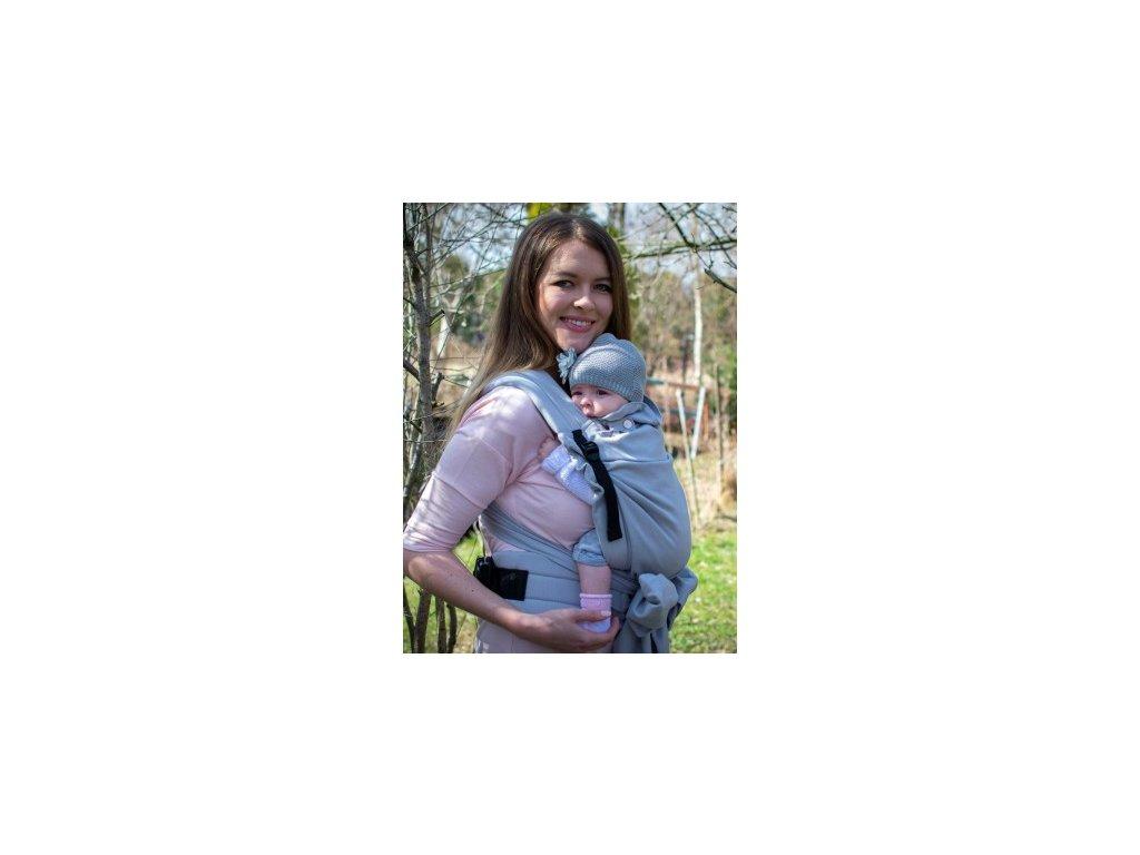 Kinder Hop Rostoucí ergonomické nosítko Half Buckle Little Herringbone Ecru 100% bavlna, žakár