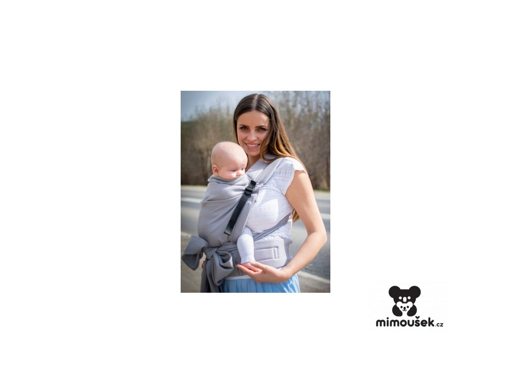 Kinder Hop Rostoucí ergonomické nosítko Half Buckle Little Herringbone Grey 100% bavlna, žakár