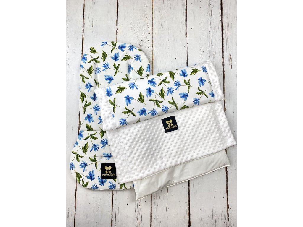 Set podložky a deky do kočárku Mimoušek modré květy