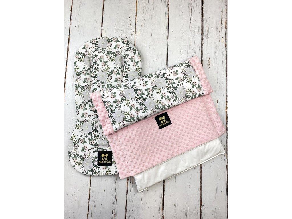 Set podložky a deky do kočárku Mimoušek bílé květy + pink minky