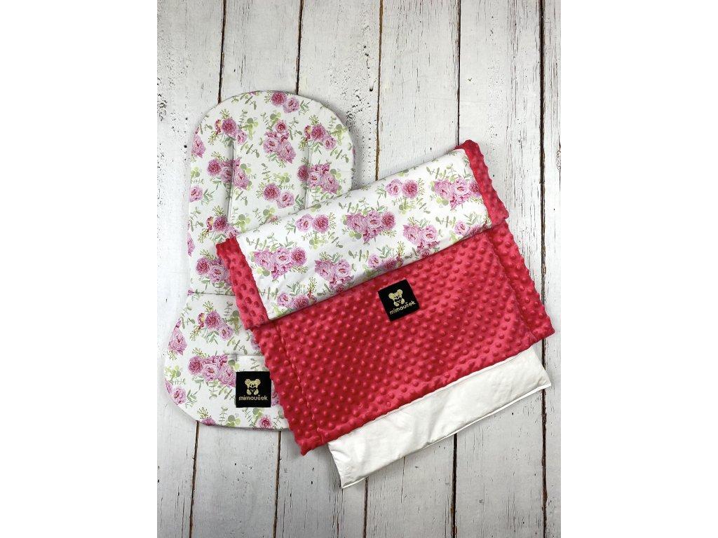 Set podložky a deky do kočárku Mimoušek růžové květy