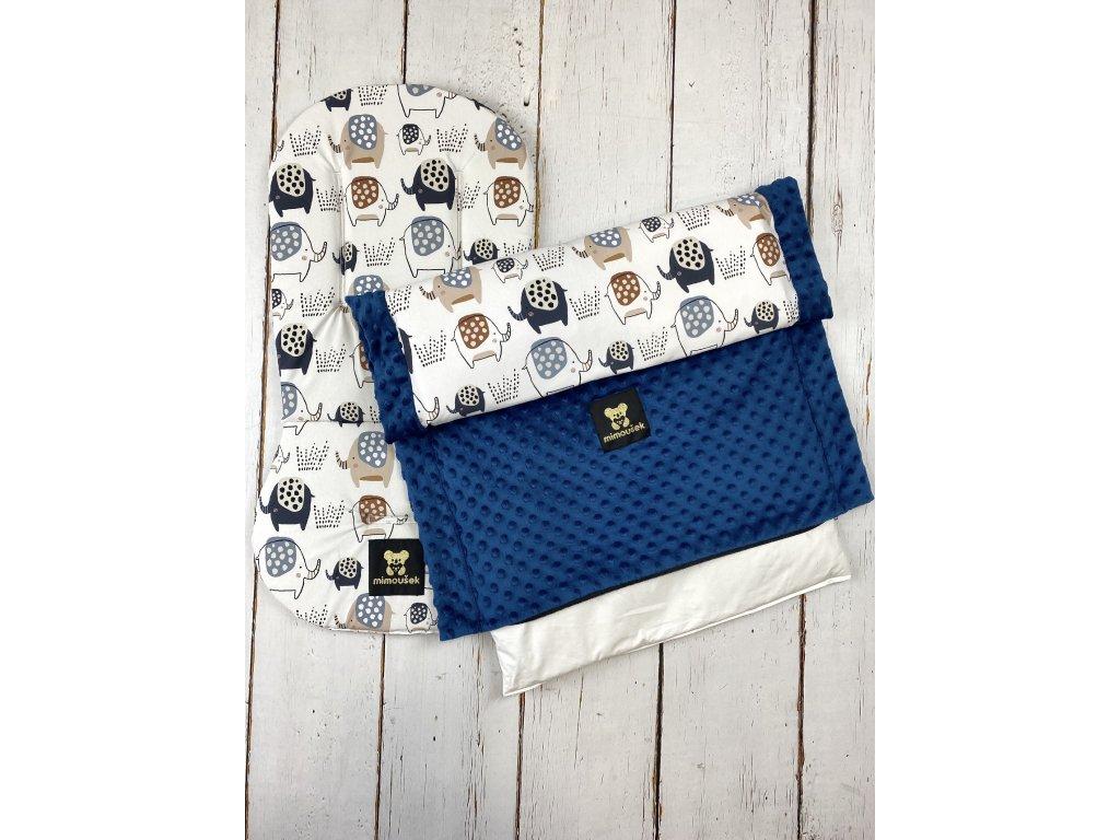 Set podložky a deky do kočárku Mimoušek sloni + královská modrá minky