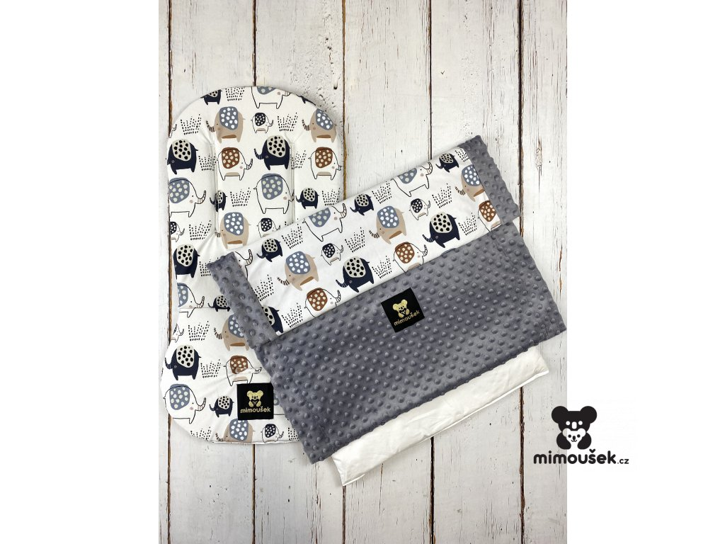Set podložky a deky do kočárku Mimoušek sloni + šedá minky