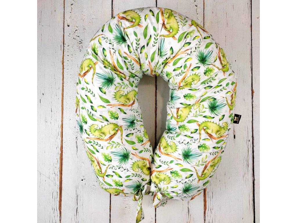 Kojící polštář MAXI printed leguán zelený