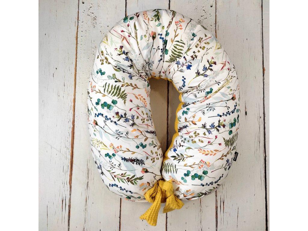 Kojící polštář MAXI jin jang květy watercolor hořčice velvet