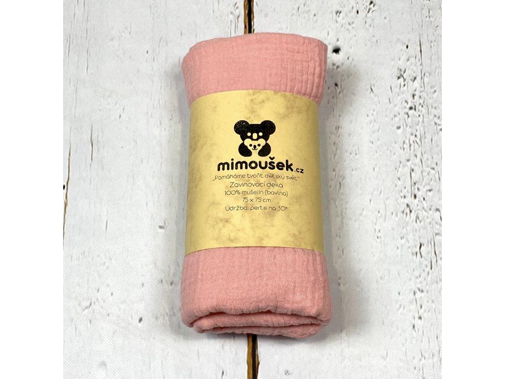 Mušelínová deka/plena jahodový krém