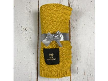 Mimoušek pletená deka žlutá