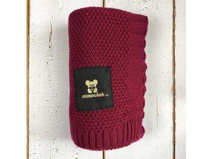 Mimoušek pletená deka vínová