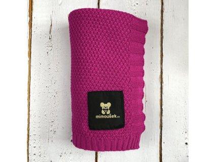 Mimoušek pletená deka fuchsie