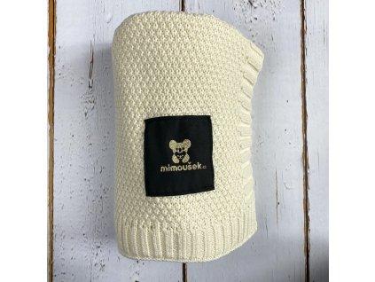 Mimoušek pletená deka smetanová