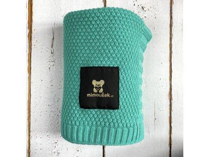 Mimoušek pletená deka mentol