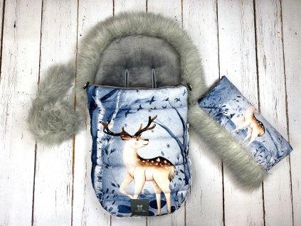 Zimní fusak Mimoušek jelen v zimním lese set