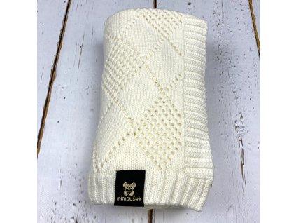 Mimoušek pletená deka vzor krémová