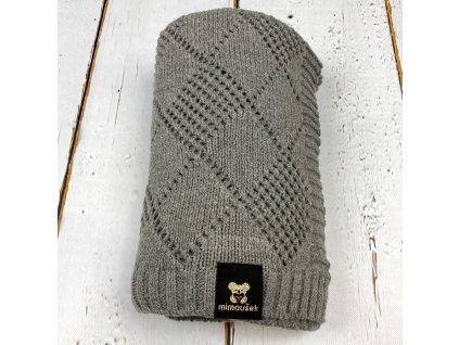 Mimoušek pletená deka vzor šedá