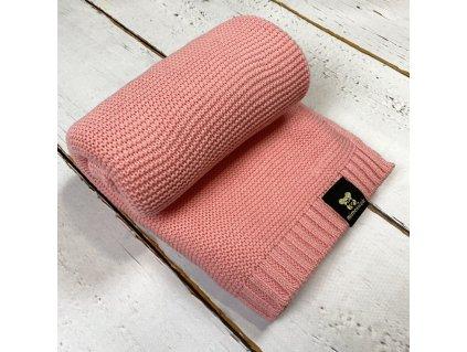 Mimoušek pletená deka 100% bavlna jahodová