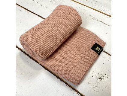 Mimoušek pletená deka 100% bavlna pudrová