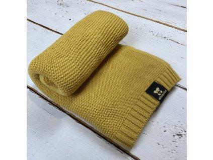 Mimoušek pletená deka 100% bavlna hořčicová