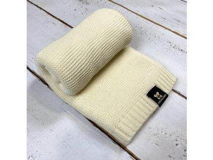 Mimoušek pletená deka 100% bavlna smetanová