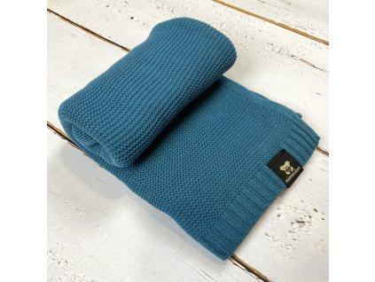 Mimoušek pletená deka 100% bavlna petrolejová