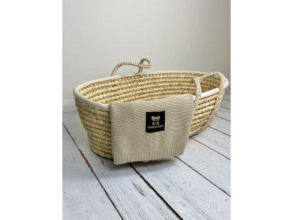 Mimoušek pletená deka 100% bavlna béžová