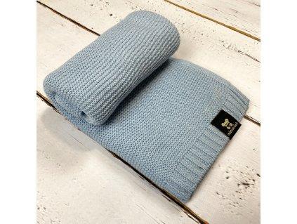 Mimoušek pletená deka 100% bavlna modrá