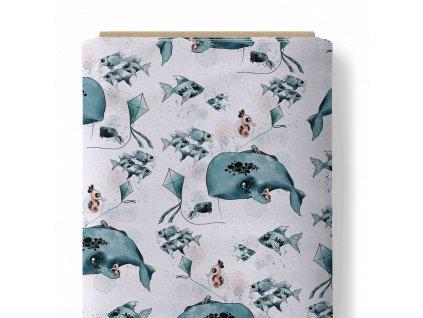 Látka bavlněné plátno 153 g premium velryba