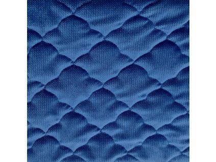 Velvet látka prošívaná - mráčky královská modrá