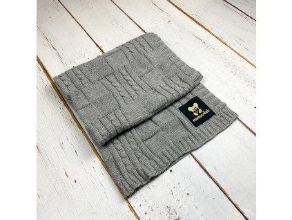 Mimoušek pletená deka vzor 1 šedá