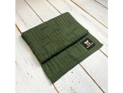 Mimoušek pletená deka vzor 1 khaki