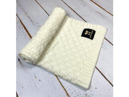 Mimoušek pletená deka vzor 2 smetanová