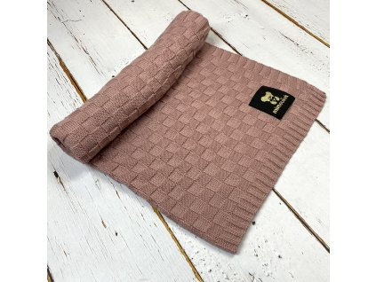 Mimoušek pletená deka vzor 2 starorůžová