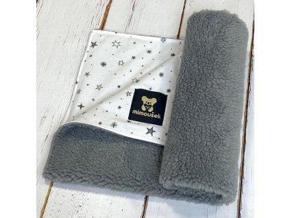 Deka Mimoušek šedý BERÁNEK černé hvězdy na bílé