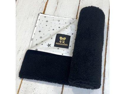 Deka Mimoušek černý BERÁNEK černé hvězdy na bílé