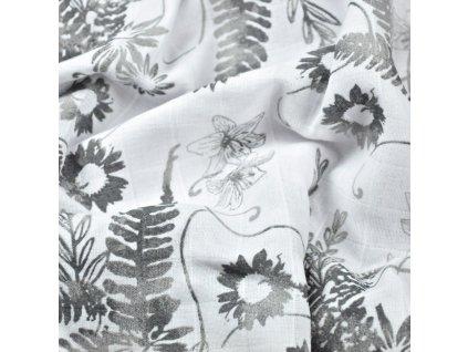 Mušelín látka potisk šedé listy na bílé