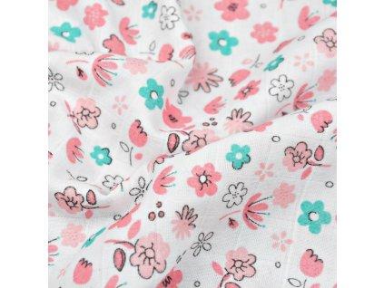 Mušelín látka potisk růžovo mentolové květy na bílé