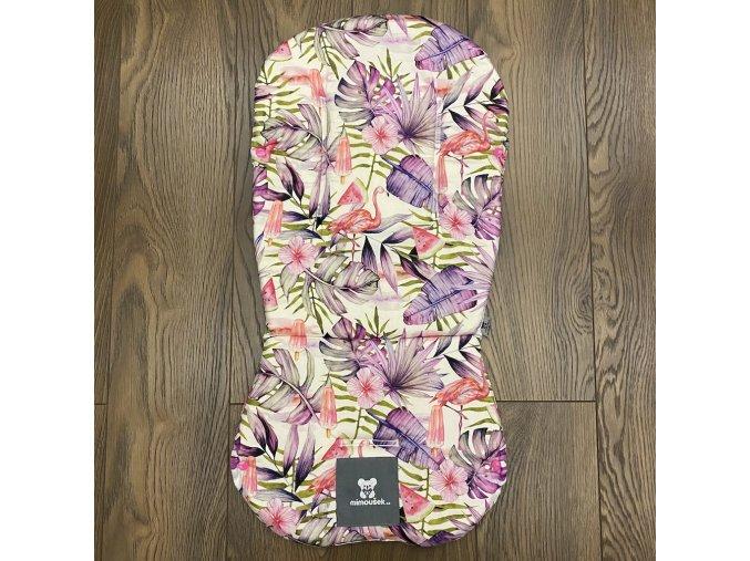 Set podložky a deky do kočárku Mimoušek Plameňáci pink