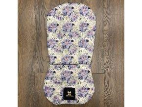 Set podložky a deky do kočárku Mimoušek Purple Flowers