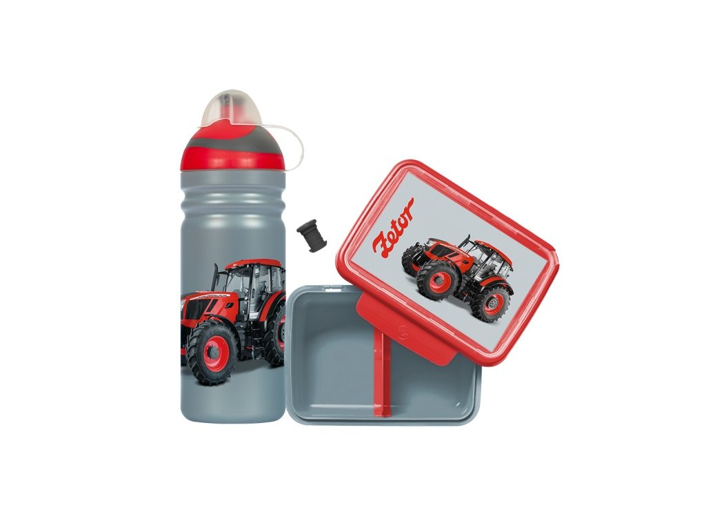 Set zdravá láhev 0,7 l a box na svačinu s traktorem Zetor