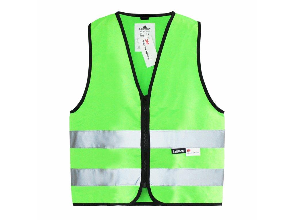 Dětská Reflexní vesta zelená na zip