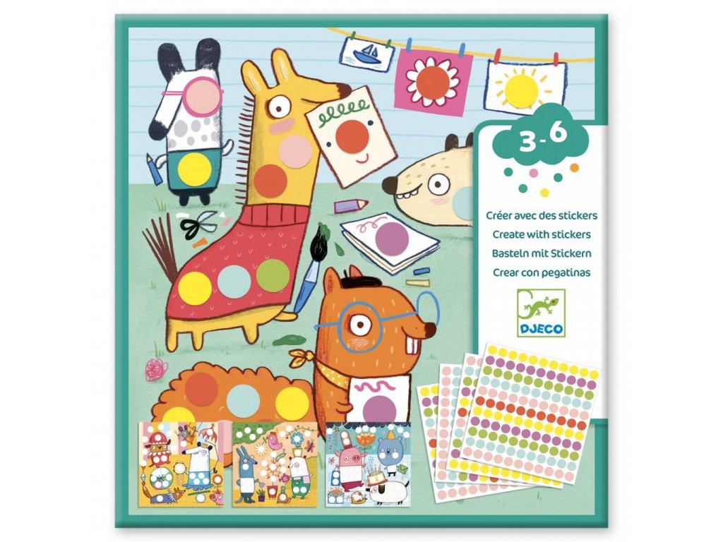 Djeco výtvarný Set se samolepkami Barevné puntíky