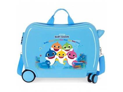 Dětský kufřík na kolečkách Baby Shark modrá