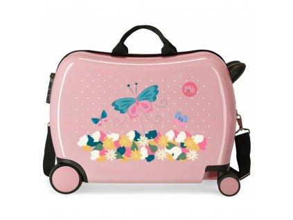 Dětský kufřík na kolečkách roll road rose odrážedlo 01