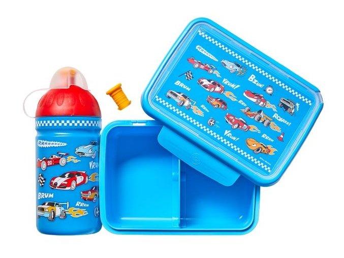 formule láhev a box na svačinu auta