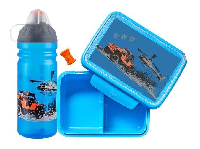svačinový box a láhev modrá jeep auto vrtulník