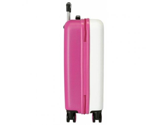 Cestovní kufr ABS Roll Road Music 55 cm, bílý, růžová