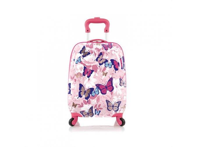HEYS dětský kufr, holčičí, motýlci, růžový, 4 kolečka