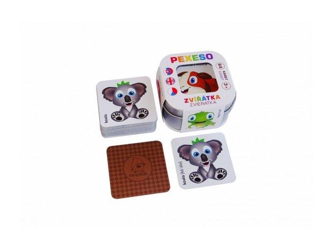 Pexeso zvířátka v plechové krabičce